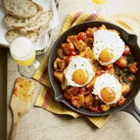 Chorizo and patatas bravas with eggs