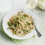 Farro spaghetti with asparagus and pine nuts