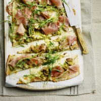 Cheat's Leek, Mushroom and Taleggio Pizza with Sliced Prosciutto