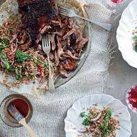 Slow-roasted lamb salad with freekeh & pomegranate