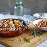 Kamut pasta with honey-roasted butternut squash, ricotta &amp; crisp sage
