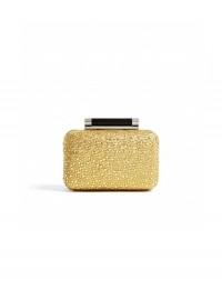 Diane Von Furstenberg Gold Crystal Tonda Box Clutch