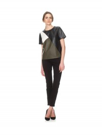 Whistles Colour Block Leather Top