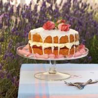 Cardamom, Rose and Rhubarb Cake