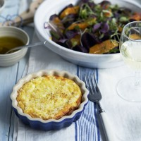 Baked Goats' Cheese Souffle with Beetroot and Orange Salad