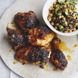 Harissa chicken with chickpea salad