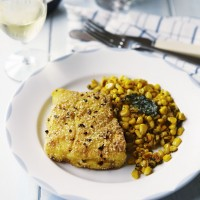 Polenta Fried Fish with Sweetcorn