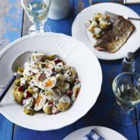 Jersey Royal salad with grilled trout