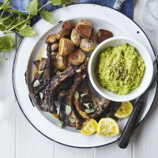 Griddled lamb cutlets with broad bean pur�e and crispy potatoes