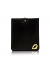 Lulu Guinness Black Lip Blot Leather iPad Sleeve