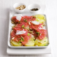 Carpaccio with potato salad