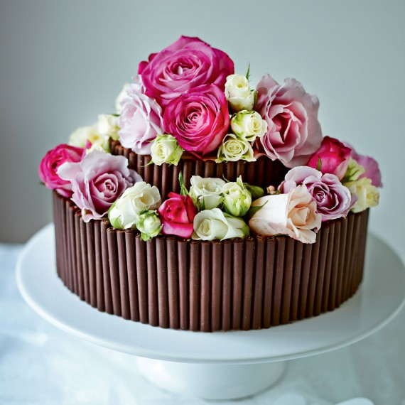 Jo Wheatleys Rose and Chocolate Wedding Cake Woman And Home