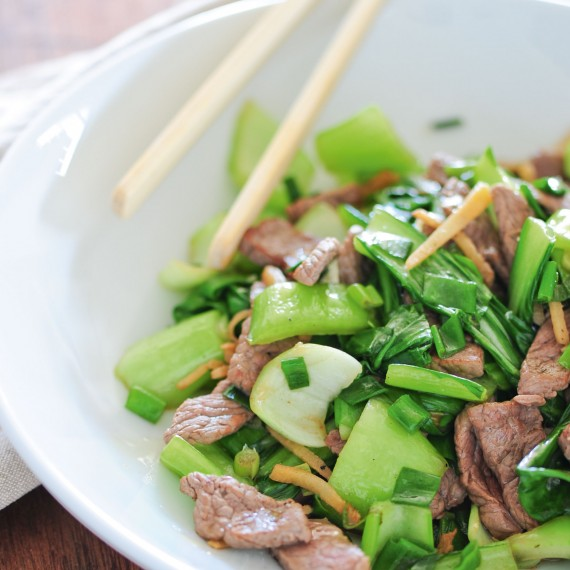 ... ginger beef stir-fry , it's done in only 10 minutes and it's packed