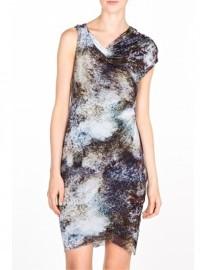 Helmut Lang Oxide Print Jersey Twist Dress