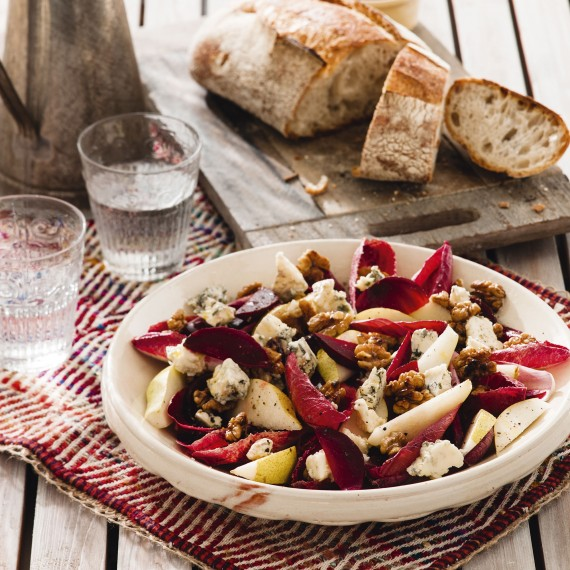 Chicory beetroot pear walnut and blue cheese salad - summer recipes - salad recipe - woman&home July 2013