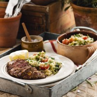 Spicy lamb fillet with quinoa salad