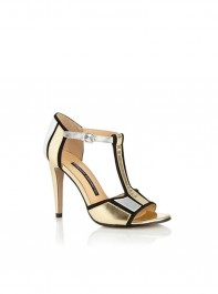 French Connection Gold T-bar Heels