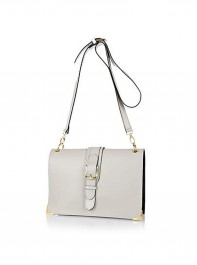 River Island Grey Leather Buckle Bag