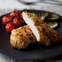 Crunchy Buttermilk Chicken with Balsamic Tomatoes and Courgettes