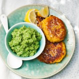 Dahl fritters with minty peas