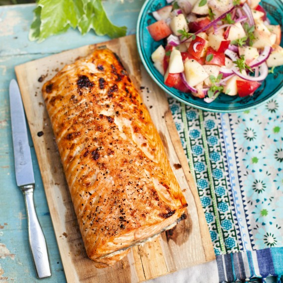 Planked Salmon With Nectarine Salad-woman and home