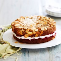 Vanilla and almond cake with almond cream and raspberry jam