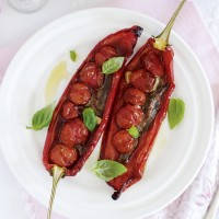 Roasted peppers with garlic and anchovies