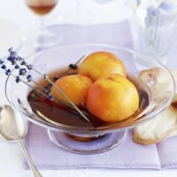Poached Peaches in Sweet Wine