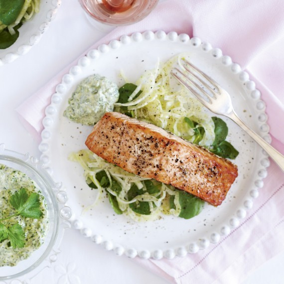 Grilled salmon with sauce verte-woman and home