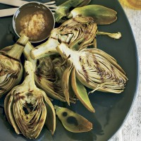 Fire-roasted artichokes with garlic oil