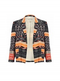 River Island Black Tribal Patchwork Print Blazer