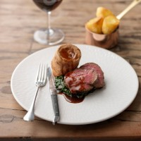 Treacle-Cured Beef, Roast Potatoes and Yorkshire Puddings