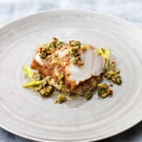 Spiced monkfish and aubergine puree with green olive dressing