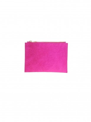 Asos Leather Clutch Bag In Faux Pony