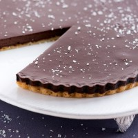 Satiny chocolate tart with sea salt
