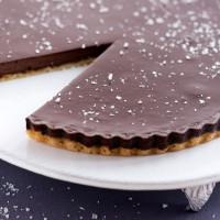 Satiny chocolate tart with sea salt