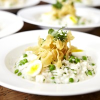 Smoked Haddock Risotto, Soft-Boiled Quail Eggs and Parsnip Crisps