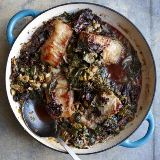 Slow-Braised Pork Belly with Wilted Greens, Olives and Capers