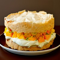 Victoria Meringue Sponge with Mango and Cream filling