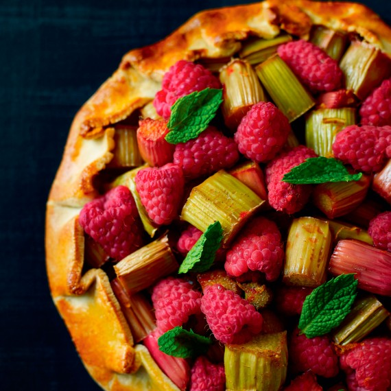 Raspberry, Rhubarb and Cardamom Galette with a Hazelnut and Vanilla Cream Recipe