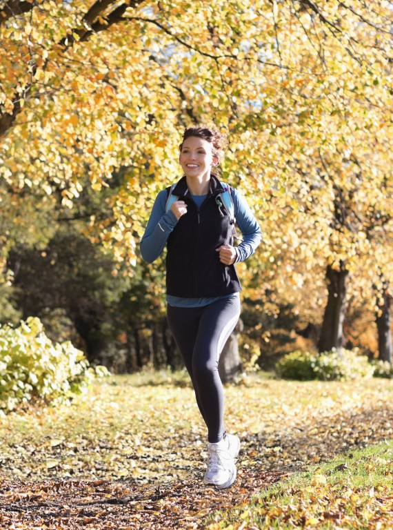 photo of woman running autumn