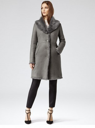Reiss Opium Shearling Leather Coat