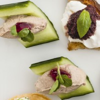 Chicken livers pate in cucumber boats