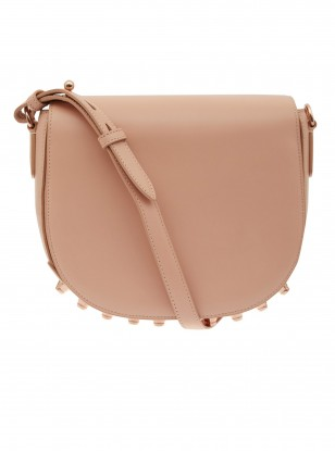 Alexander Wang Small Beige Lia Shoulder Bag with Rose Gold Studs
