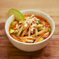 Mexican Tortilla Soup with Avocado and Coriander