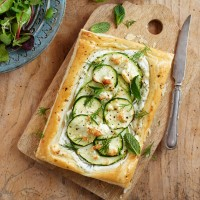 Courgette and marrow tart with feta
