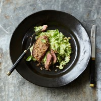 Sesame Steaks On Broccoli Purée
