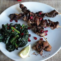 Grilled Duck Skewers with Kale and Pomegranates
