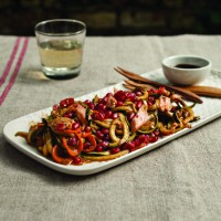 Flaked Salmon with Spicy Pomegranate Noodles
