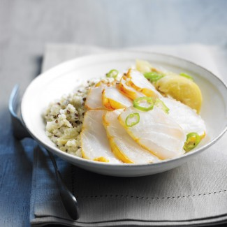 Lime and Lemon Smoked Haddock Carpaccio with Quinoa, Couscous and Bulgur Wheat